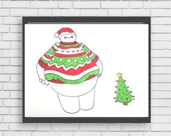 UGLY SWEATER BAYMAX - original marker painting disney christmas holiday baymax big hero 6 art illustration print painting disney world land