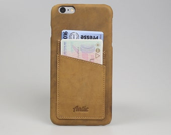 "For IPhone 6 Plus / 6S Plus Snap-On Case With Credit Card Slots In Vintage Camel Leather Cover Anticcase ""Orion Cover CC"" OCCC-G8-IP6P"
