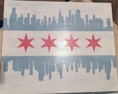 Chicago Skyline Flag Wood Sign ~ 5x7 or 8x10 - handpainted, ink transfer, vintage, weathered, panel, block, downtown, windy city