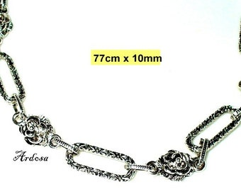 1 handmade chain, rose, silver, without closing 77 cm (K203. 10.3)