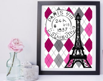 Pink and Grey Diamonds Eiffel Tower Print with French Postage Stamp Modern and Trendy Instant Download
