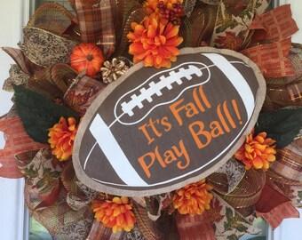 Football Wreath/Fall Wreath/Its Fall Play Ball/Autumn Wreath