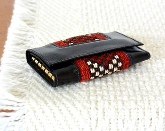 Vintage 1970's, Black Leather, Red and White Woven, Folding, Key Wallet, Holder, Organizer