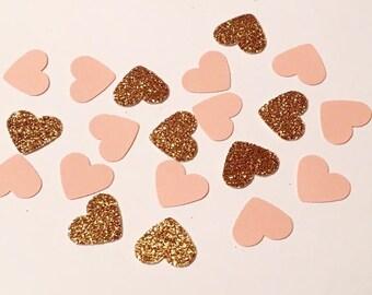 200 Pink and Copper Heart Confetti Glitter Confetti Bridal Shower Confetti Wedding Confetti Anniversary Confetti Die Cut Punch Confetti