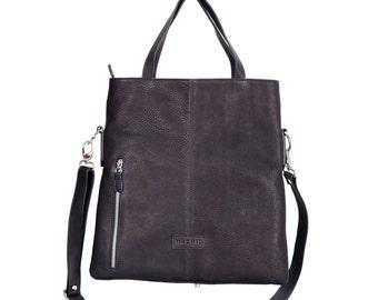 Casual shoulder bag-soft black goatskin leather womens bag