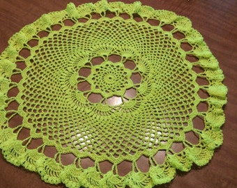 Neon yellow nylon doily