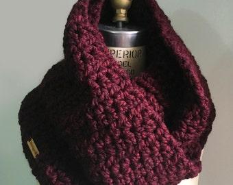Infinity Scarf - Maroon - Extra Chunky - Handmade Crocheted Scarf