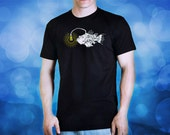 steampunk anglerfish fish lamp black t shirt for men, screen printed men's short sleeve tee shirt, Size M, L, XL, XXL