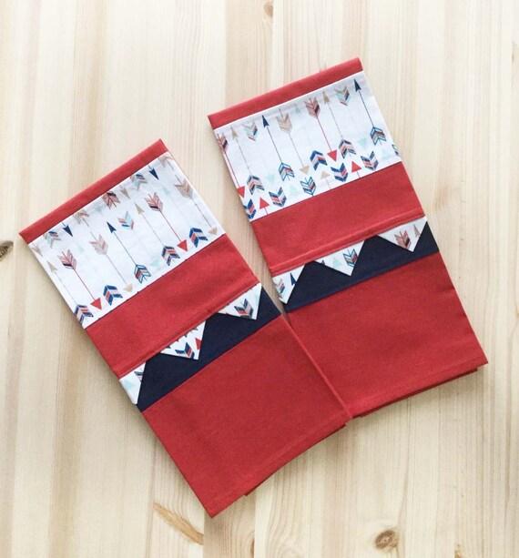 Red Kitchen Towels: Brick Red And Navy Kitchen Towel Set 100% By MyHandmadeKitchen
