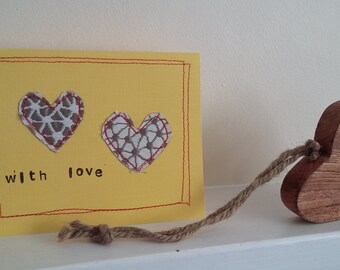 hearts with love stitch greeting card