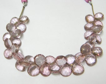 8 inch strand--10 - 12 mm approx-- Fine Quality Mystic Pink Quartz Faceted Heart Briolettes