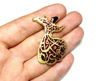 Red and Gold Whirling Dervish Charm, Gold Plated Whirling Dervish Charm, Mevlana Sufi Charm, Mevlevi Charm
