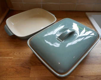 One open oven to table Denby dish in  Manor Green and one lidded oven to table Denby dish in Manor Green