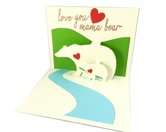 Pop Up 3D Mother's Day Card, Mama Bear Pop Up Card, Mothers Day Card, Pop Up Card, Custom Pop Up Card, Custom Mothers Day Card