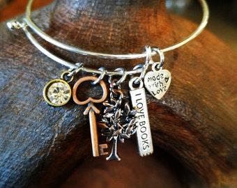 Tree & Key Bangle Bracelet, Charm Bracelet