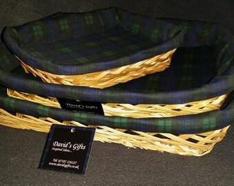 Tartan lined wicker baskets
