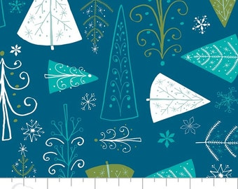 "Winter Wonderland  ""Trees""  in Blue By Heather Rosas For Camelot Fabrics"