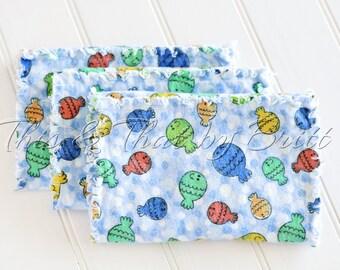 Blue Fish- Baby Flannel Burp Cloth- Ragged Edge Burp Cloth- Set of 3 *SALE*