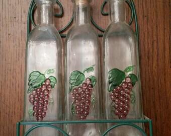 70s Vintage Oil U0026 Vinager Bottles / Grapes / Kitchen / Glass / Wall Decor /