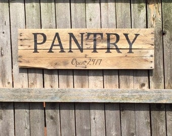 wooden pantry sign | etsy