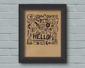 Hello! Art Print, Ink Sketch, Wall Art, Doodle