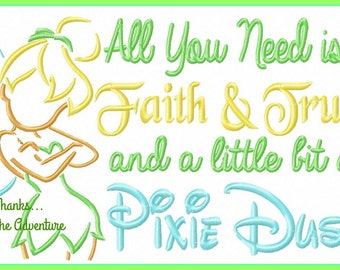 Faith, Trust and Pixie Dust- Tinker Bell from Peter Pan Combo Sketch Digital Embroidery Machine Design File 5x7 6x10