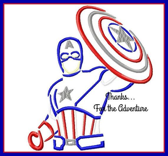 Captain America Sketch Digital Embroidery Machine Design File