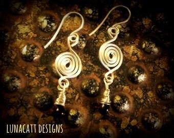 Sterling silver handmade spirals with garnet glass bead earrings