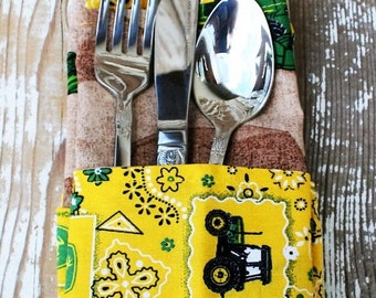 Eco-Friendly John Deere tractor double sided cloth napkins- set of 4