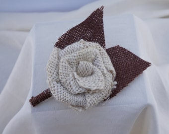 Cream and Brown Burlap Boutonniere with Two Leaves