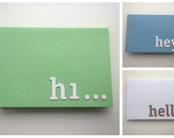3D lettering greetings cards | Hi | Hello | Hey