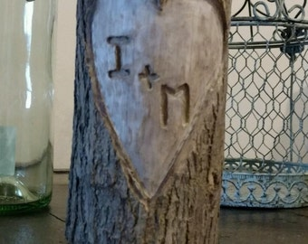 Wood candle holder with intials!