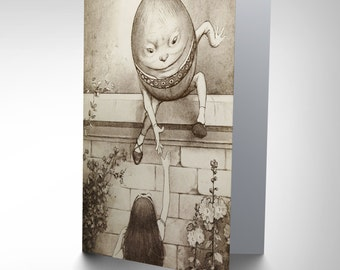 Greetings Card Birthday Gift Painting Alice In Wonderland Egg Wall CP2838