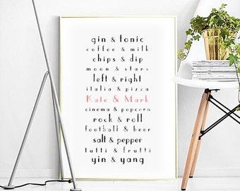 Poster- Perfect Pairs,WEDDING,Personalized Love Print,Customizable Wedding gift,typography,Custom Names,Wedding Anniversary,Giftbachelorette