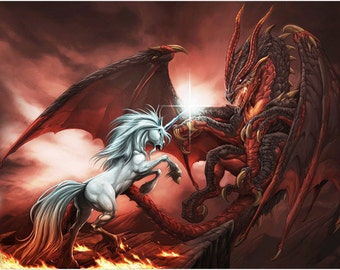 Unicorn Vs Fiery Dragon Poster 24x36 Mythological Fantasy Kid Friendly