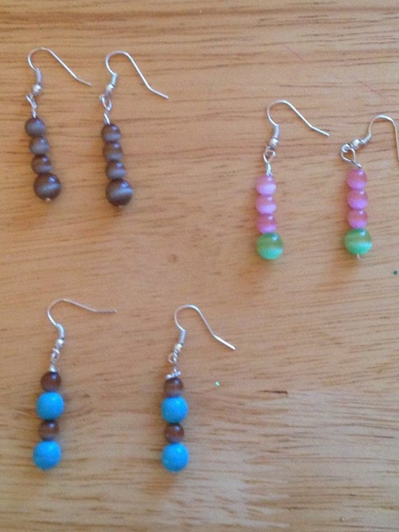 Pastel Faux Tiger Eye Earrings