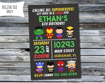 Superhero Invitation / Superhero Birthday Invitation (Personalized) Digital Printable File