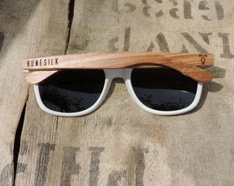 RUNESILK Sunglasses White with Zebra Wood Arms
