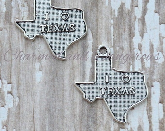 10 Pewter I Heart Texas charms (CM27)