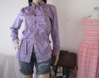 Vintage 60s blouse blouse Jersey Mille fleurs S / m