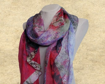 Colorful long scarf, Summer scarves, Lightweight scarf, Womens shawl, Multicolor scarf, Chiffon large scarf, Silky scarf women