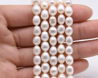Rice pearl, 6-7mm freshwater loose pearls, tear drop pearl strand, genuine natural white color, high quality, full strand, FM450-WS