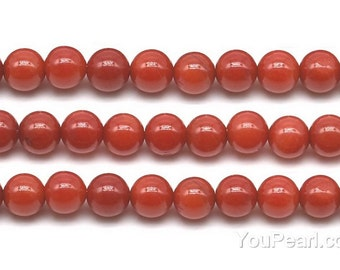 Red coral, 6mm round, gemstone beads, natural coral gem stone, loose round stone full strand, for making jewelry, wedding gift, CRL2020