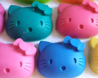 Recycled Crayons - Hello Kitty Inspired Crayons - Set of 6 - Children Birthday Party Favor Gift