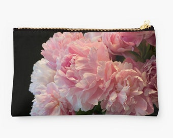 Black and Pink Clutch Bag ~ Floral Zipped Bag, Pink Peonies Studio Pouch, Gift Idea for Her, Flower Bag, Floral Print, Feminine Accessory