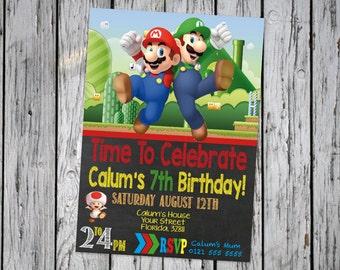 Super Mario Brothers Invitation Chalkboard ~ Super Mario Brothers Birthday ~ Mario Printables ~ Luigi Invite ~ Super Mario Party Favors