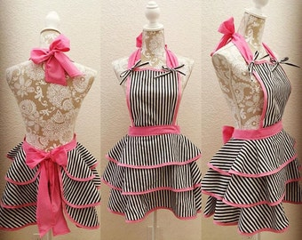 Fun N' Flirty: striped apron with bows
