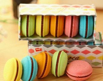 Kawaii Rainbow Macaron Erasers