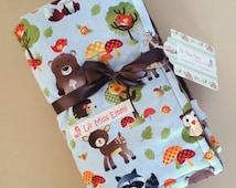 Brown Baby Blanket | Stroller Blanket | Car Seat Cover | Baby Boy Blanket | Brown Minky Blanket | Forest Animal Blanket | Baby Shower Gift