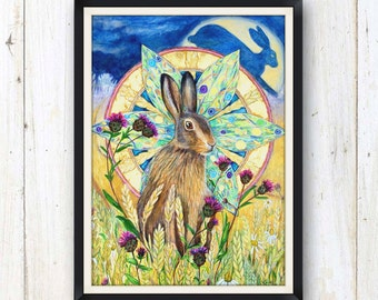 Hare spirit animal art print/ rabbit art print/ Nursery art print/ Wildlife art
